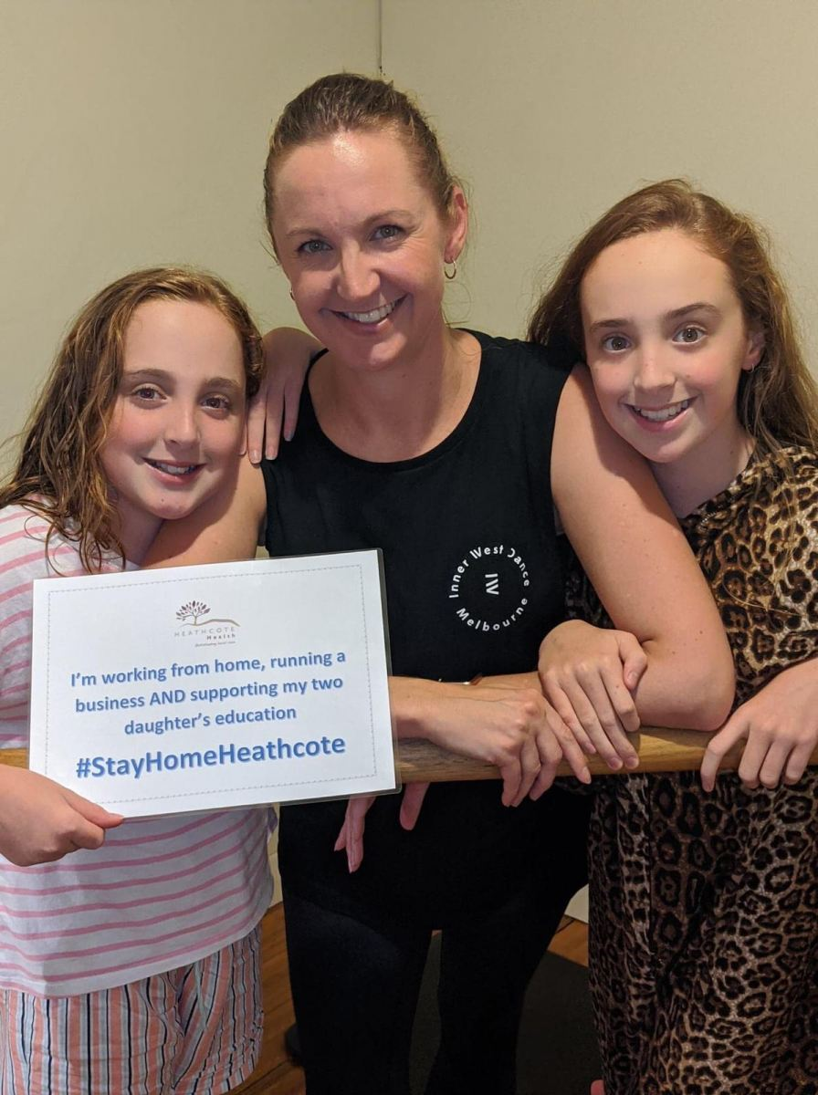 StayHomeHeathcote-Rebecca-Holding-Heathcote-Health-Board-Director-with-Leila-and-Milly